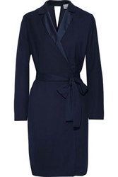 Iris And Ink Woman Salli Belted Satin Trimmed Crepe Dress Navy
