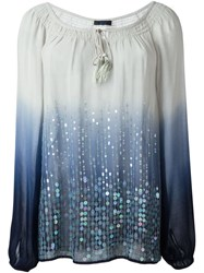 Twin Set Jeans Degrada Sequin Blouse Blue