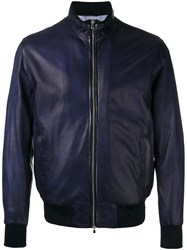 Barba Bomber Jacket Men Leather 52 Blue