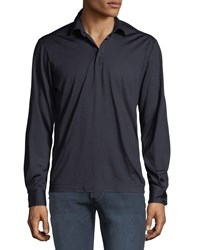 Culturata Premium Wool Long Sleeve Polo Shirt Navy