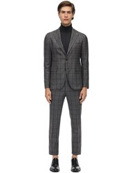 Tagliatore Virgin Wool Prince Of Wales Suit Grey