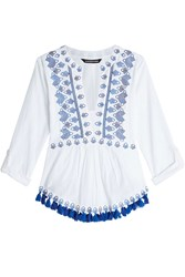 Kas Embroidered Cotton Top With Tassels Gr. M