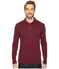 Mod O Doc Long Sleeve Slub Jersey Polo Wine Men's Long Sleeve Pullover Burgundy