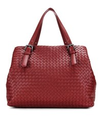 Bottega Veneta Intrecciato Leather Tote Red