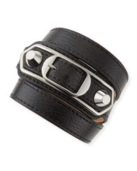Balenciaga Classic Leather Wrap Bracelet Black