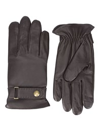 Polo Ralph Lauren Brown Press Stud Leather Gloves