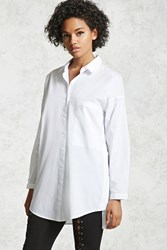 Forever 21 Oversized Button Up Shirt White