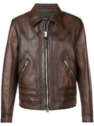 Coach Burnished Leather Jacket Brown