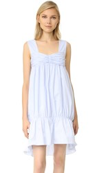 Victoria Beckham Striped Bandeau Dress Powder Blue