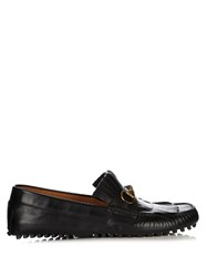 Gucci Road Jump Fringed Leather Loafers Black