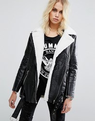 Goldie Wreckless Aviator Jacket With Faux Shearling Black