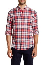Gant Preppy Poplin Check Long Sleeve Trim Fit Shirt Red