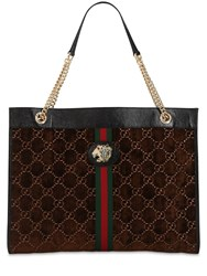 Gucci Large Rajah Gg Velvet Tote Bag Brown