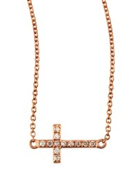 Small 14K Rose Gold Pave Diamond Cross Necklace Sydney Evan Pink