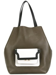 Marni Trunk Pocket Shopper Tote Green