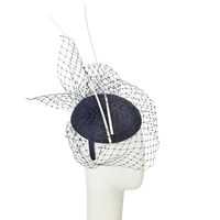 John Lewis Remi Pillbox Veil Quills Fascinator Navy White