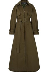 Jacquemus Thika Cotton Twill Trench Coat Army Green