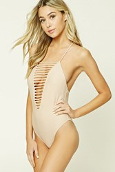 Forever 21 Raw Ladder Cutout One Piece Nude