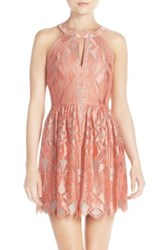 Bcbgmaxazria 'Megyn' Lace Fit And Flare Dress Pink