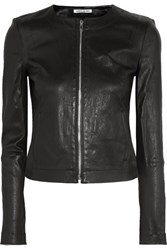 Elizabeth And James Helen Stretch Leather Jacket Black