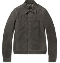 Rick Owens Nubuck Jacket Dark Gray