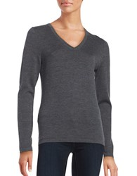 Lord And Taylor Merino Wool V Neck Sweater Graphite Heather