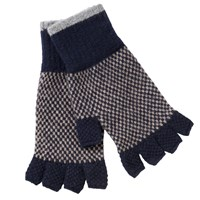 Barbour Brodie Check Lambswool Fingerless Gloves Navy