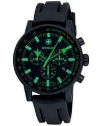 Wenger Men's Swiss Chronograph Raid Commando Black Silicone Rubber Strap Watch 42Mm 70891