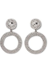 Alessandra Rich Oversized Silver Tone Crystal Clip Earrings One Size