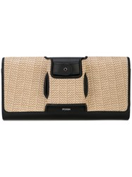 Perrin Paris Two Tone Clutch Bag Black