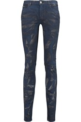 Karl Lagerfeld Courtney Metallic Printed Mid Rise Skinny Jeans Blue