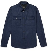 Brioni Brushed Wool And Cashmere Blend Overshirt Navy