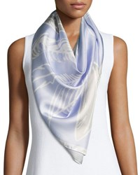 Anna Coroneo Silk Satin Square Feather Scarf Blue Purple