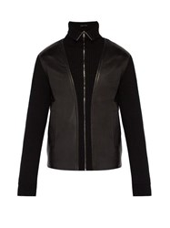 Prada Leather Panelled Wool Zip Through Sweater Black
