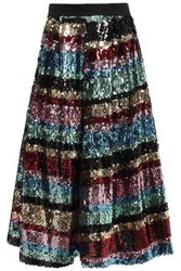 Ainea Woman Flared Sequined Woven Skirt Multicolor