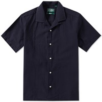 Gitman Brothers Vintage Short Sleeve Overdyed Seersucker Shirt Blue
