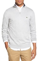 Men's Lacoste Quarter Zip Pullover Sweater Silver Chine Navy