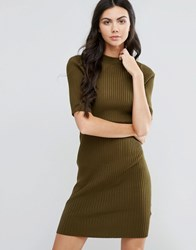 First And I High Neck Pencil Dress Dark Olive Green