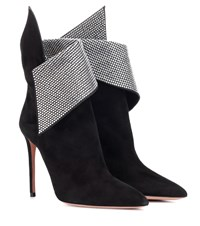 Aquazzura Night Fever 105 Suede Ankle Boots Black