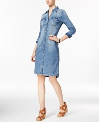 Inc International Concepts Embroidered Denim Shirtdress Only At Macy's Indigo