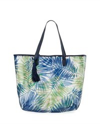 Neiman Marcus Clear Palm Leaf Print Tote Bag Navy