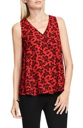 Vince Camuto Women's Lace Print Sleeveless Blouse Fire Glow