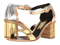 Rupert Sanderson Ripple Gold Silver Bronze Metallic Grain Nappa High Heels