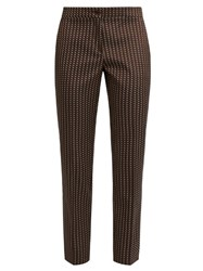 Etro Chevron Jacquard Cropped Trousers Brown Multi