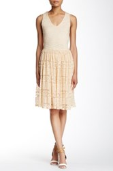 Painted Threads Sleeveless Lace Dress Beige