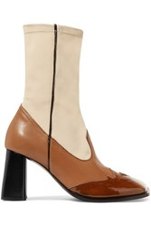 Ellery Leather And Stretch Knit Ankle Boots Cream