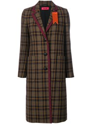 The Gigi Plaid Buttoned Coat Cotton Viscose Virgin Wool Brown