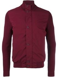 Z Zegna Stand Up Collar Contrast Jacket Red