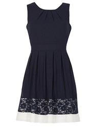 Izabel London Sleeveless Lace Hem Dress Navy