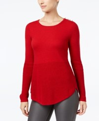 Charter Club Mixed Stitch Button Shoulder Sweater Created For Macy's New Red Amore